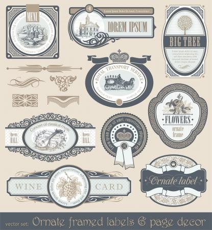 Vector set of vintage framed labels & page decor Illustration
