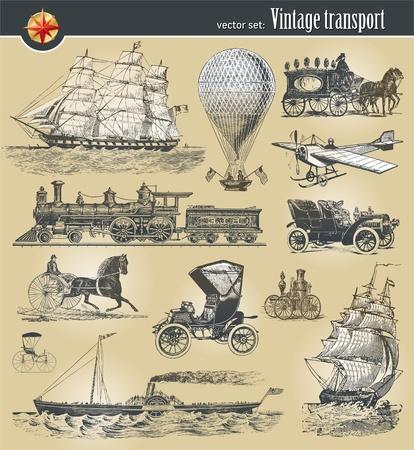 steamship: Vector set van vintage historische vervoer Stock Illustratie