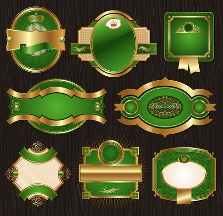 heading: Vector vintage golden-green luxury ornate framed labels decorated patterns, banners, ribbons and ornaments - on a wood texture
