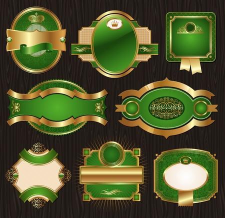 gild: Vettoriale vintage verde-oro ornato di lusso etichette incorniciato decorato modelli, striscioni, nastri e ornamenti - su una struttura di legno Vettoriali