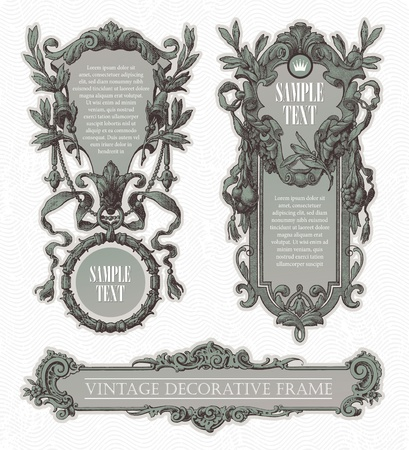 framed: Vintage engraved decorative ornate vector frames Illustration