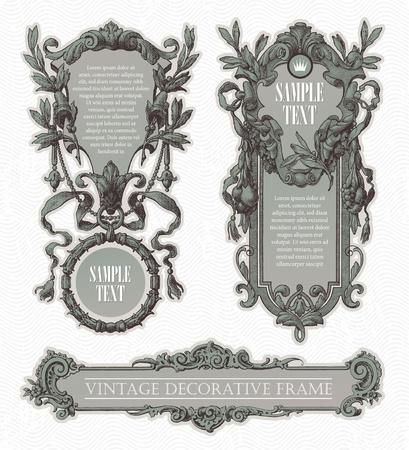 engraved: Vintage engraved decorative ornate vector frames Illustration