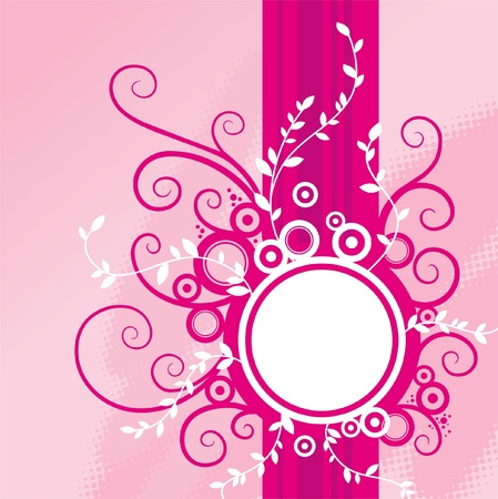 round frame: Abstract pink floral background with frame