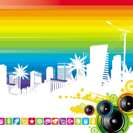 sub woofer: Tropical cityscape and loudspeakers - vector illustration