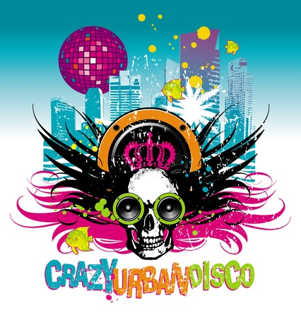 sub tropical: Abstract musical illustration with skull and cityscape