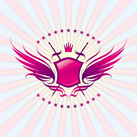 Winged coat of arms - vector illustration Stock Vector - 9857361