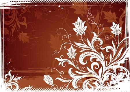 floral ornament: Floral grunge-vintage vector illustration