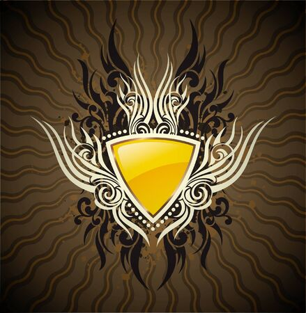 aristocrat: Vector illustration with yellow shield Illustration