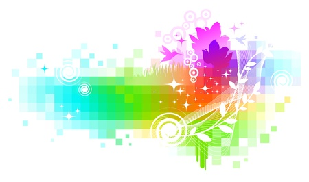 pixels: Abstract colorful nature vector background Illustration