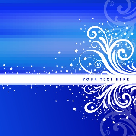Blue Christmas vectot background with ornate decor Vector