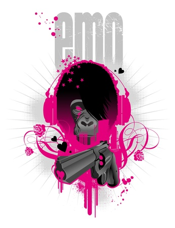 gun barrel: Vector illustration with emo gorilla and gun Illustration