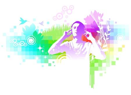 geluid: Kleurrijke abstracte muzikale illustratie