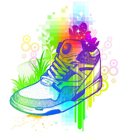 footwear: Vector colorful illustration with hand drawn magic boot
