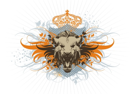 beast: Vector vintage coat of arms with lion head