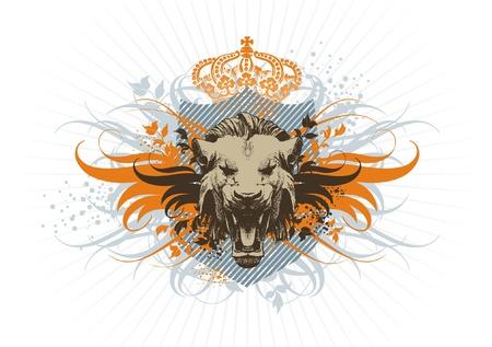 lion wings: Vector vintage escudo de armas con cabeza de Le�n