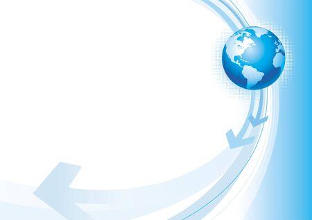 flecha azul: Ilustraci�n vectorial con globo y flechas Vectores