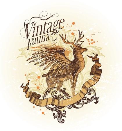 hunts: Vector ornate vintage emblem with winged deer