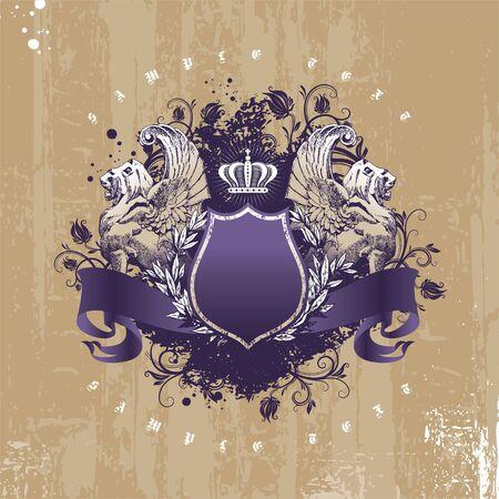 escudo de armas: Vintage - grunge vector escudo de armas con leones alados Vectores