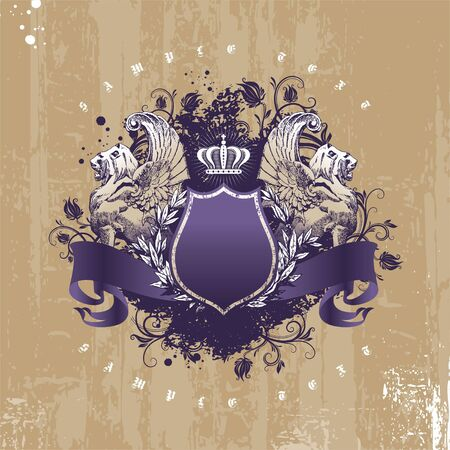 Vintage - grunge vector coat of arms with winged lions Illustration