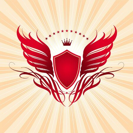 shield with wings: Decorative vector red coat of arms Illustration