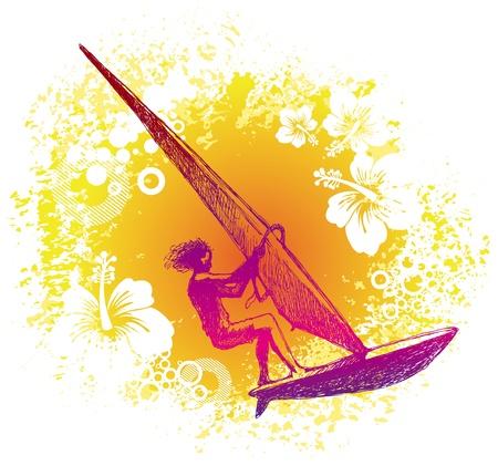 wind surf: Windsurfista dibujado de la mano de vector