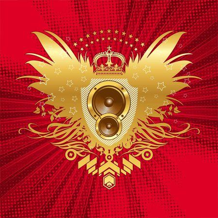 Vector golden musical emblem Vector