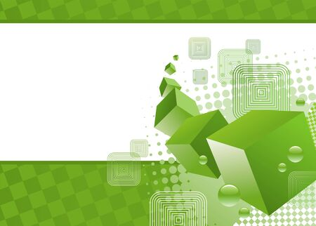 square cut: Green vector background with 3d cubes