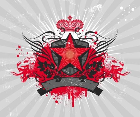 grunge wings: Illustrazione vettoriale araldico con stella rossa