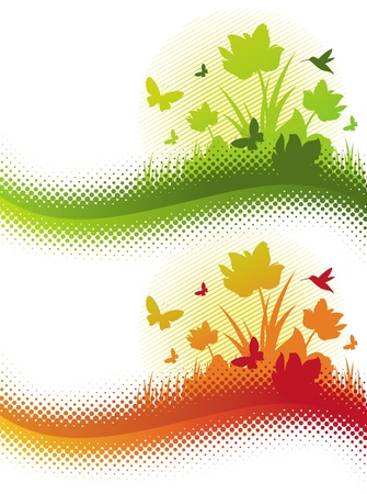 grass illustration: Abstract vector summer field with flowers & butterflies Illustration