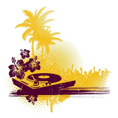 party dj: Illustration vectorielle avec table tournante & partie tropicale Illustration
