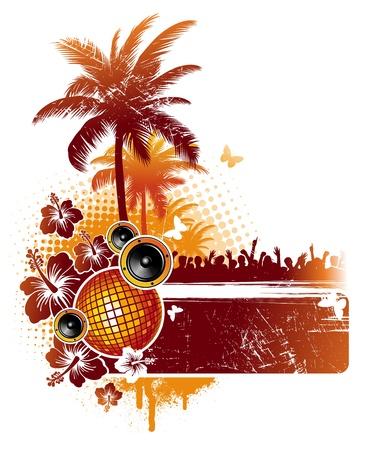 fiesta en la playa: Fiesta tropical - ilustraci�n vectorial