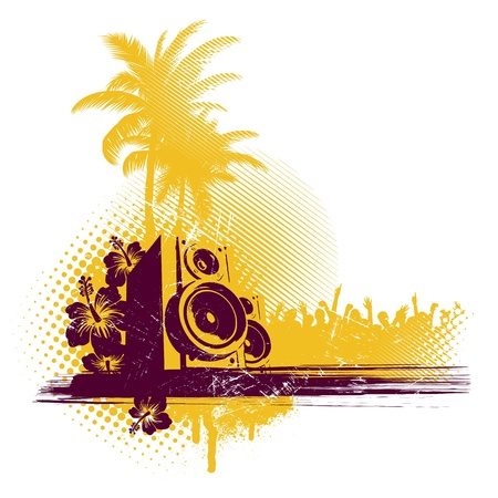 Vector illustration with loudspeakers & tropical party