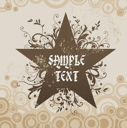 star logo: Vector grunge floral star Illustration