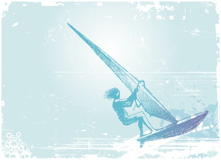 Vector illustration with hand drawn windsurfer Vector