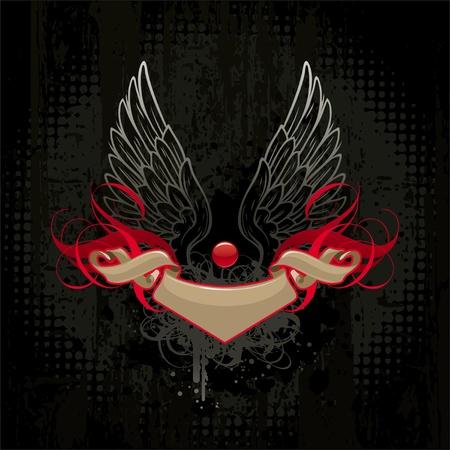 diablo y angel: Alas y banner sobre fondo oscuro grunge Vectores