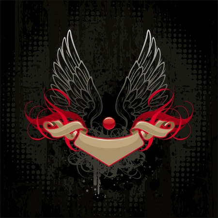 Wings and banner on dark grunge background Vector
