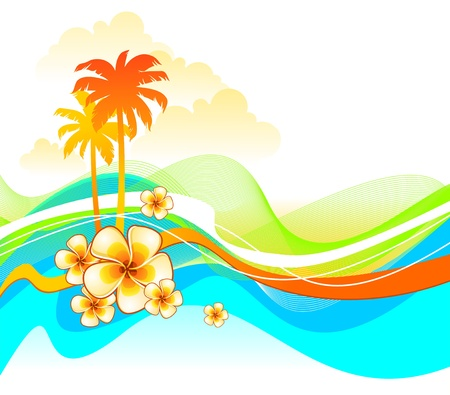 plumeria flower: Abstract colorful vector illustration with tropical flowers