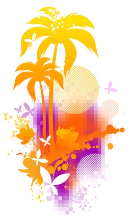 Abstract vector illustration - tropical summer Stock Vector - 9902845