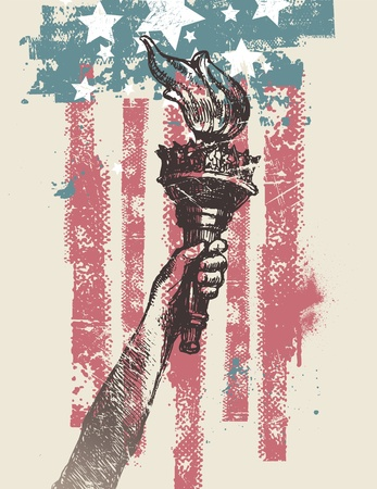 us flag grunge: Abstract USA patriotic vector illustration - drawing hand of freedom with torch