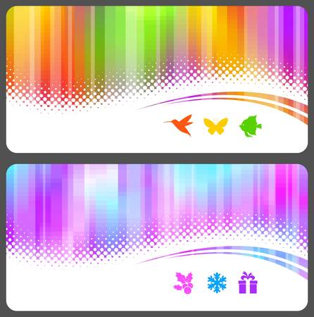 Abstract colorful illustration with halftone waves & icons Vector