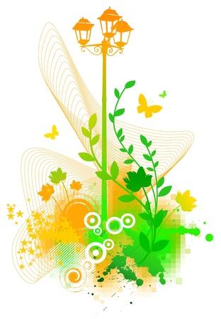 Abstract vector summer illustration - street lantern and flora Stock Vector - 9902872