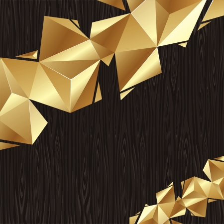 acuminate: Abstract vector background - golden triangular elements  on a black wood board