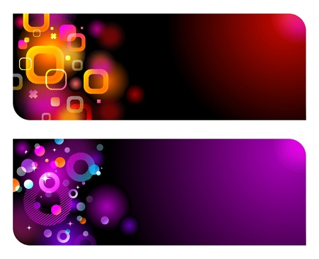 vector banners: Abstract vector colorful glittering banners