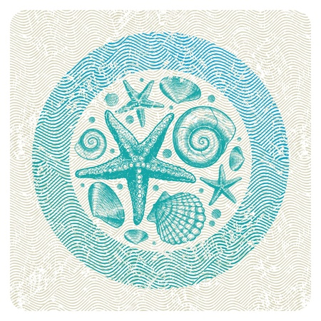 fauna: Ilustraci�n vectorial abstracta con mano dibuja fauna marina