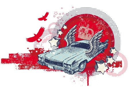 dotted: Abstract vector illustration with hand drawn winged retro car