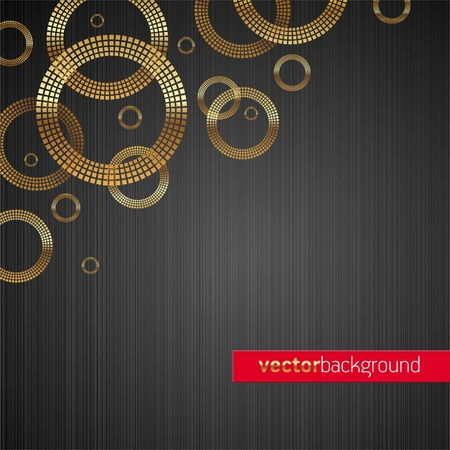 black textured background: Abstract vector metal texture background with golden luxury shiny circles