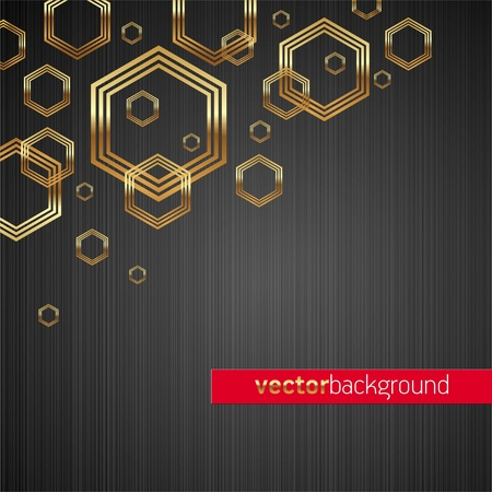 Abstract vector metal texture background with golden shiny & luxury hexagon shapes Stock Vector - 9902821