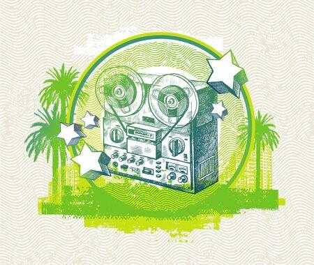 magnetofon: Muzyczne ilustracji wektorowych abstrakcyjna rÄ™kÄ… rysowane retro magnetofonu
