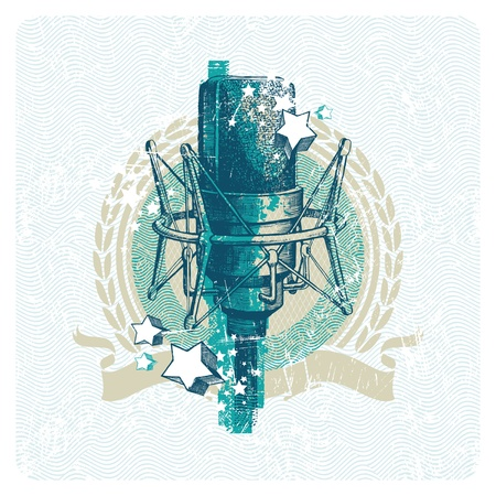 vintage mic: Abstract vector musical emblem with hand drawn studio condenser microphone Illustration