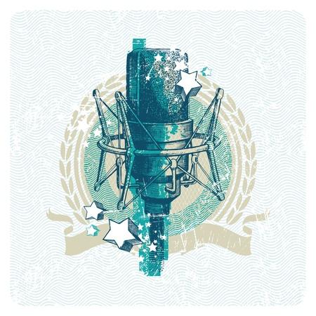 recording studio: Abstract vector muzikale embleem met de hand getekende studio condensator microfoon Stock Illustratie